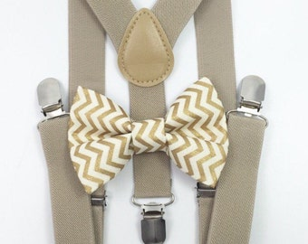 FREE DOMESTIC SHIPPING! Tan suspenders + Matching Gold Chevron Bow Tie kids family photos photo prop holiday picture