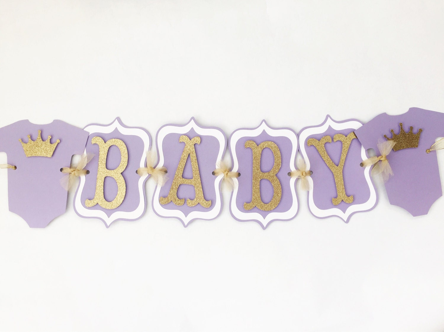 baby shower banner in lavender and gold purple and gold baby shower