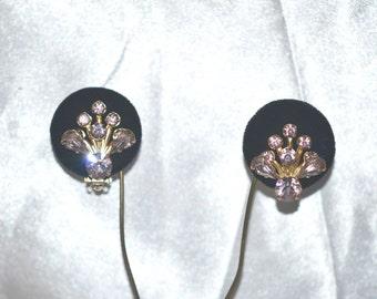 Vintage Earrings Lavender Rhinestones in Gold Tone Clip Backs