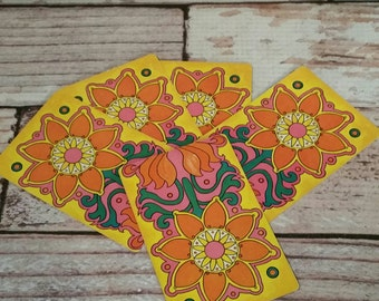 Vintage Floral Playing Cards, Set of 12, Orange, Yellow, Flower Power