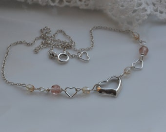 Silver sterling hearts necklace assemblage / Antique pink glass beads / Fire polished Czech glass beads / Delicate silver sterling chain