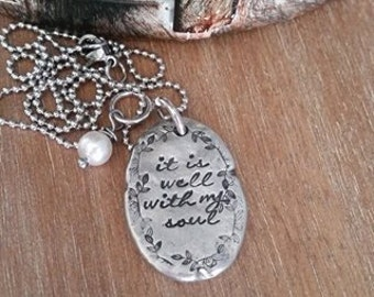 Hand Stamped Jewelry-Personalized necklace-Hand Stamped Pewter Necklace-It Is Well With My Soul-Religious-Scripture-Christian Jewelry