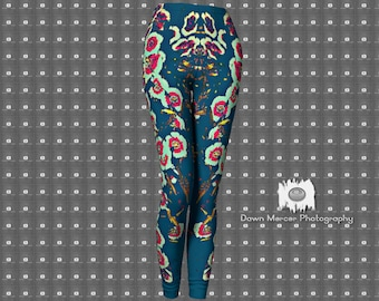 Floral Leggings Artsy Tights Unique Art Leggings Tight Yoga Pants Floral Printed Leggings Fitness Leggings Yoga Leggings Tight Leggings