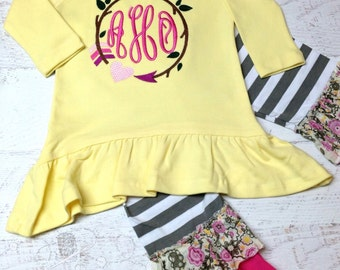 Girls Monogram Shirt, Ruffle pants Set, Girls Ruffle Pants Outfits, Girls Monogram Aztec Arrow Shirt