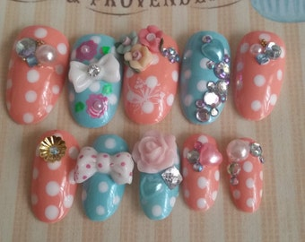 Press on Nails Kawaii Hime Gyaru Japanese Pink & blue Polka Dot Nails