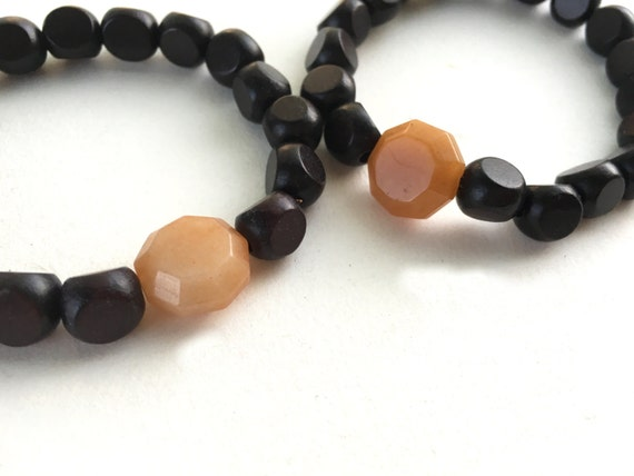 Peach Aventurine and Wood Stretch Bracelet // Gifts for Her // Stocking Stuff