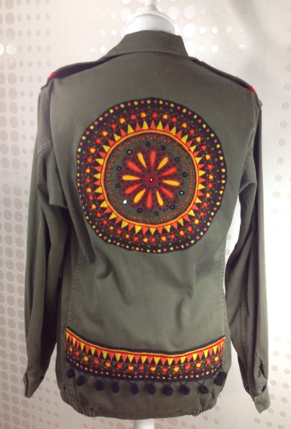 Khaki Military Jacket Decorated With Embroidery Pakistan