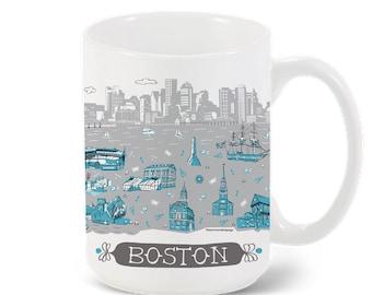 Boston Mug-City Mug-Coffee-Tea-Kitchen-Blue-Grey-Kitchen-Foodie-Cooking-Baking-Personalized-Custom