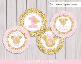Pink and Gold Minnie Mouse Cupcake toppers, Glitter Cake Toppers, Decorations Birthday Printables, Minnie party printable Printable DIY