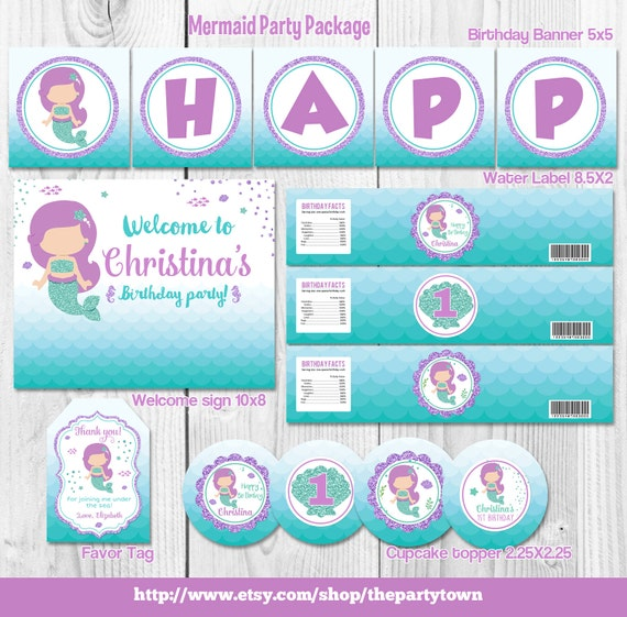 Mermaid birthday party package little mermaid party supplies for 1st birthday decoration packages