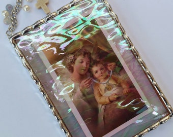 Guardian angel plaque with Swarovski pearls and colored jade beads soldered in iridescent water glass