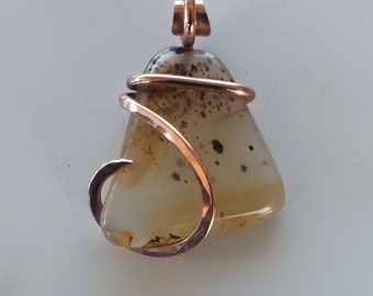 Handmade Montana Agate Pendant Wrapped in Copper Wire (5)