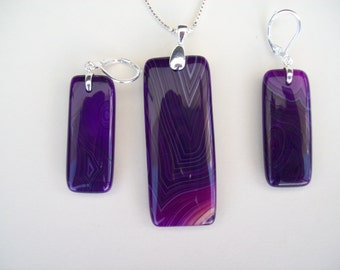 Purple Agate Oblong Pendant and Earring Set - Sterling
