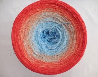 horizont - 4plies - self striped, color gradient yarn, Wollium (Germany), cotton yarn, unique hand knitting yarn