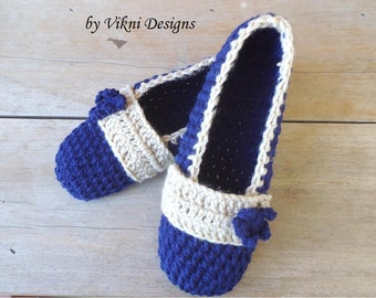Crochet Slippers, Cozy Women's House Shoes, Navy Blue Slippers by Vikni Designs