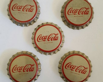 Five vintage unused Coca Cola cork lined bottle caps, 1960's, craft supplies, jewelry supplies, soda pop, soft drink
