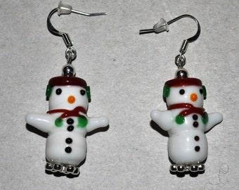 One Of A Kind Snowman Earrings
