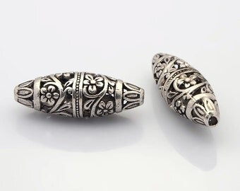 One Tibetan Style Alloy Filigree Hollow Bead, Rice with Flowers, Nickel Free, Antique Silver, 36x13mm, Hole: 2mm   118