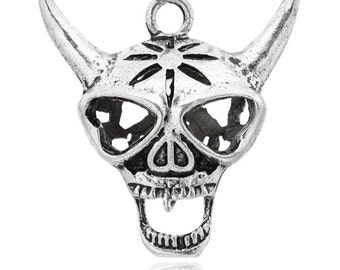 Skull - Cattle, Devil - Hollow Tibetan Style, Antique Silver, Size About 32mm wide, 33mm long, 10mm thick, hole: 3mm.  129