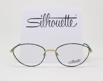Silhouette glasses, designer eyewear, 80s spectacles, green frame, clear lens glasses