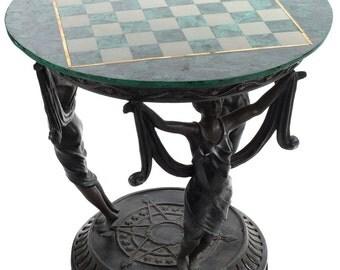 Malachite Chess Game Table w/Figural 3 Females Metal Base
