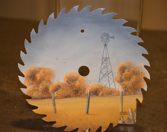 Painted Saw Blade, Original Acrylic Art