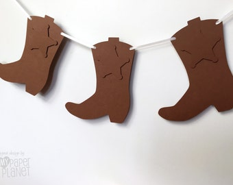 Cowboy Cowgirl boots banner. Bunting, garland. Birthday party, celebrations, wild west party, photo prop, decorations.