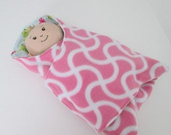 Baby bunting for 13 14 15 16 in doll-Bitty Baby, Baby Stella, Corolle, Haba, Rosy, Cheeks,Waldorf  Pink white Fleece &  frogs  flannel