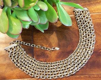 Vintage Woven Gold Tone Chain Choker