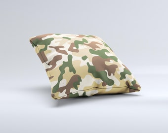 The Vibrant Colored Traditional Camouflage ink-Fuzed Decorative Throw Pillow