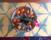 On Sale! 30% OFF / Indigo shibori table runner / linen table runner / hand-dyed indigo / natural indigo / Home décor / linen runner / linens
