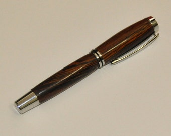 Hand Turned Cocobolo Wood Ballpoint Pen (black ink)