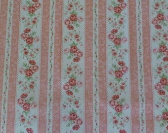 FANTASTIC SALE - ROSE For You~Rose Stripe~Cotton Fabric,Home Decor,Quilt Shabby Chic, 2220Y14B- Quilt Gate,Fast Shipping, F508