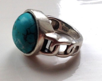 Chunky Solid Sterling Silver 8.5g Round Bezel Set Natural Blue Green Turquoise Cabochon Ring Size UK L.5 - US 6