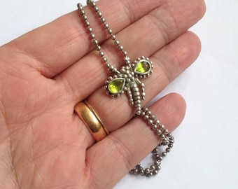 Vintage Silver Plated 2mm Bead Chain & Pear-Cut Green Peridot Gemstone Dragonfly Pendant Necklace 20""