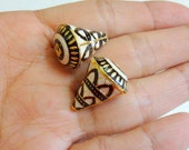 Ethnic Indian Conical Metal Bead With Meena Work  - 2 pcs