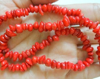 Natural Red Coral Chip Beads - Irregular coral spacer beads