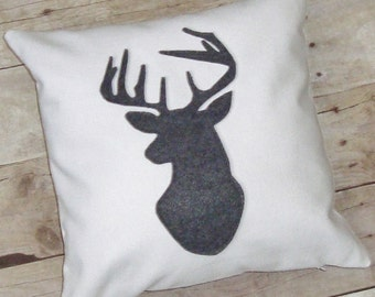 Deer Pillow cover / White with a grey deer head silhouette / antler pillow / stag silhouette / deer pillow case