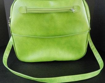 Mod Lime Green Vinyl Carry On Bag, Overnight Bag, Weekender, Shoulder Bag, Luggage
