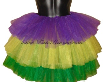 MARDI GRAS Tutu . Ready to Ship . Girls to Adult Plus Size . Tiered Tutu . Purple . Yellow . Green . Long Length up to 16in