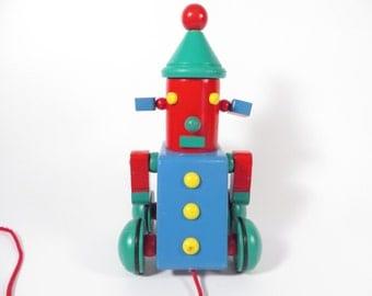 Vintage Hoobert 1989 Wood Robot Pull Toy - Wood Toy Robot