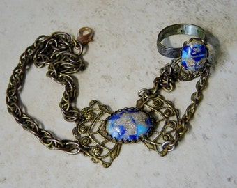 Slave Bracelet, 70's Slave Bracelet, Boho, Hippie, Antique Brass Chain & Filigree, Blue Lapis Cabachon, Brass Chain Bracelet and Ring, Blue