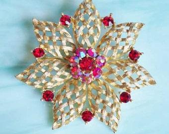 SPARKLY, Red Crystal, GOLD Filigree Flower 'LISNER' Pin