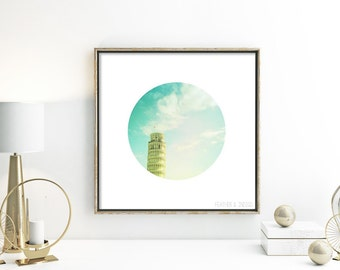 Architecture photo Leaning Tower of Pisa Italy wall art minimalist photo pastel wall decor building photograph Travel photography mint green