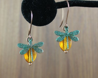Dragonfly and Amber charm earrings ~ Copper Verdigris ~ Outlander inspired