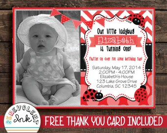 Ladybug First Birthday Invitation - Printable 1st Birthday Party Invite - Girl Birthday Invitations - Printable Ladybug Invitation