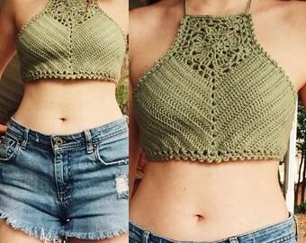 Ready Made•Handmade Zinnia Crochet Crop Top•Festival Wear•Beach Wear