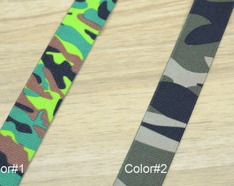 1 inch (25mm) wide Printed  Camouflage Pattern Elastic Band, Waistband Elastic,for Baby Suspendars
