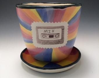 Boombox and Mix Tape Rainbow Planter
