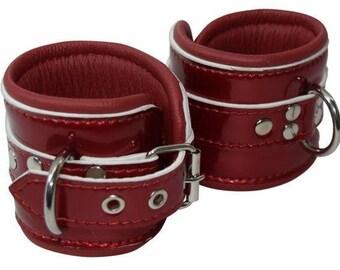 Glossy Blood Red Genuine Leather Padded Cuffs (Goth Cuffs)